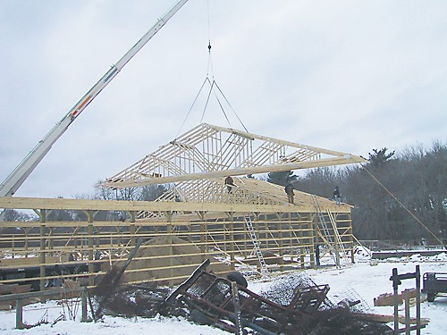 Wood roof trusses delivered to the Circle B Barn in Middleboro, MA